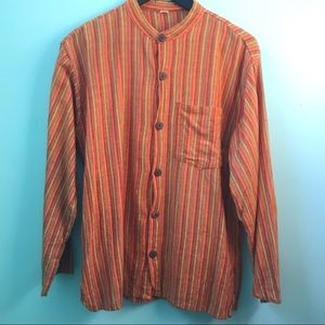 Other - Boho Striped Button Down, Large